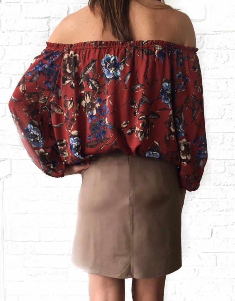 Almond Suede Braided Mini Skirt