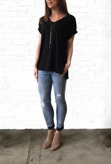 Black Vneck French Tunic