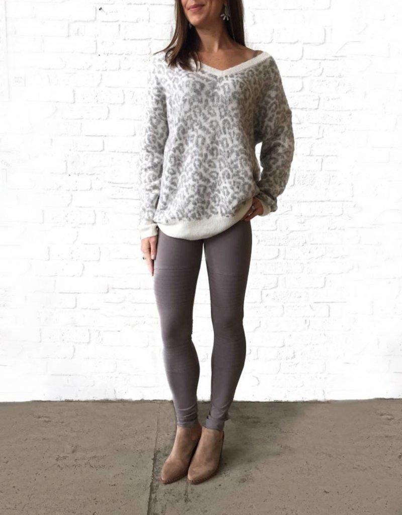 Grey V-neck Cheetah Sweater