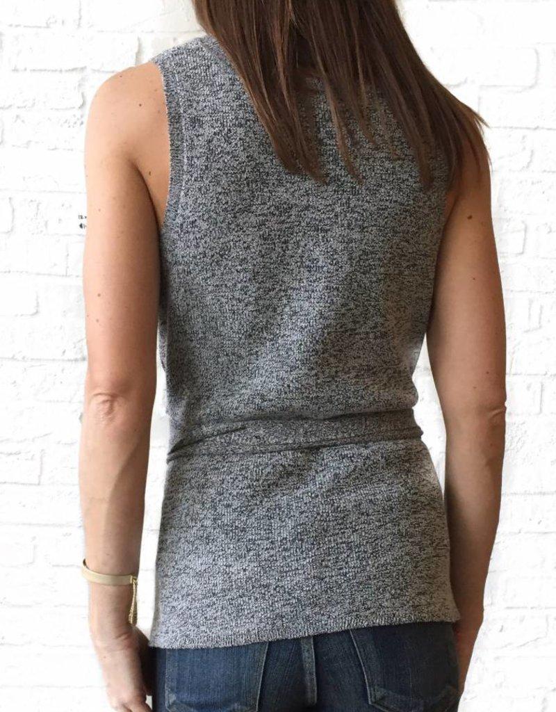 Heather Gray Slvls. Sweater w/ Tie