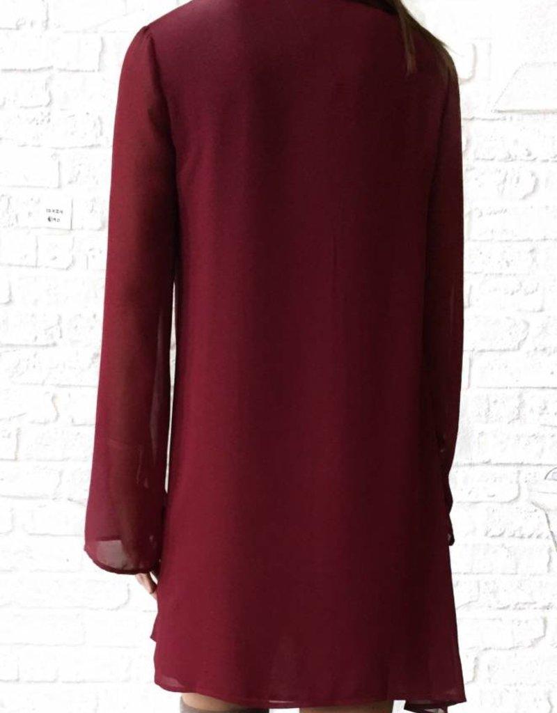 Red Tie Neck Dress