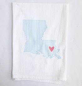 LA State Ocean Ticking/Coral Heart Towel