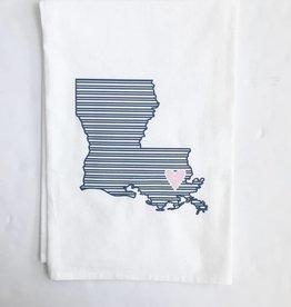LA State Navy Stripe/Pink Heart Towel