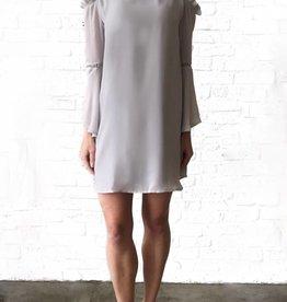 Grey Ruffle Cld Shldr Dress