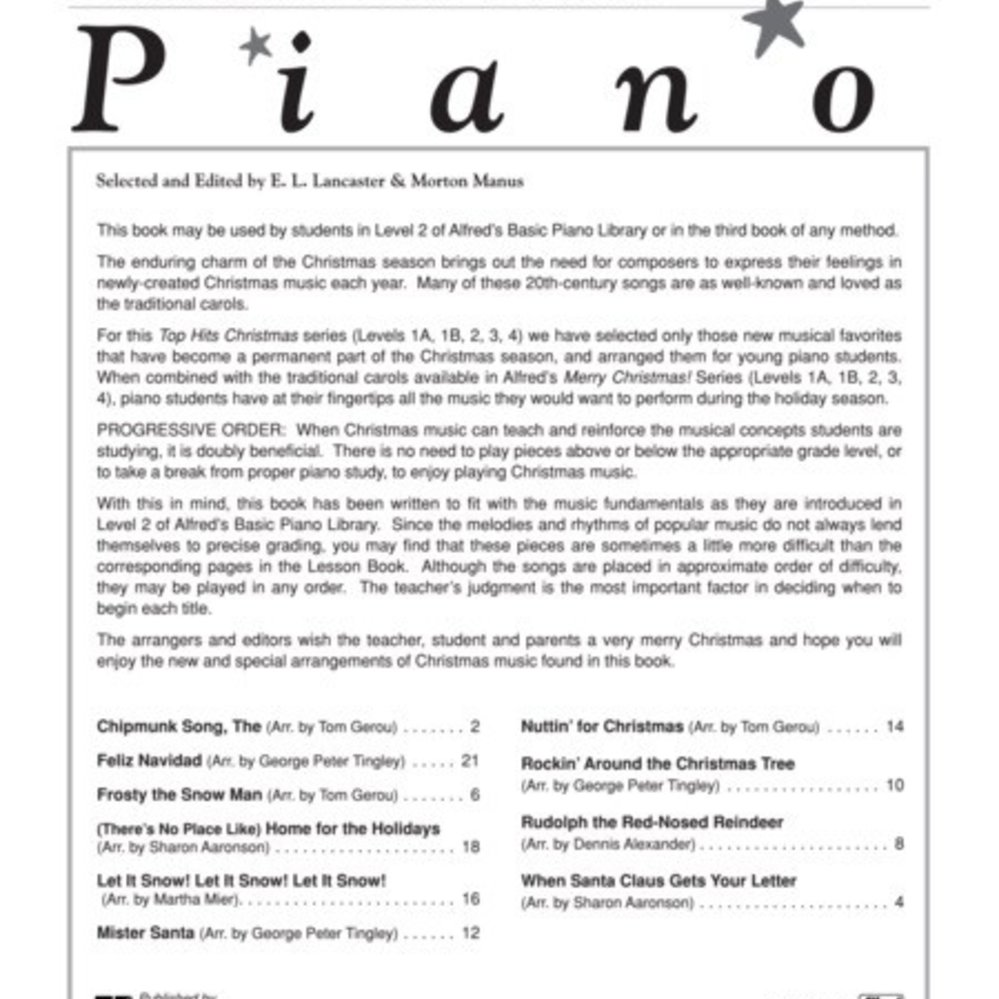 Alfred\'s Basic Piano Library: Top Hits! Christmas Book 2 - PianoWorks