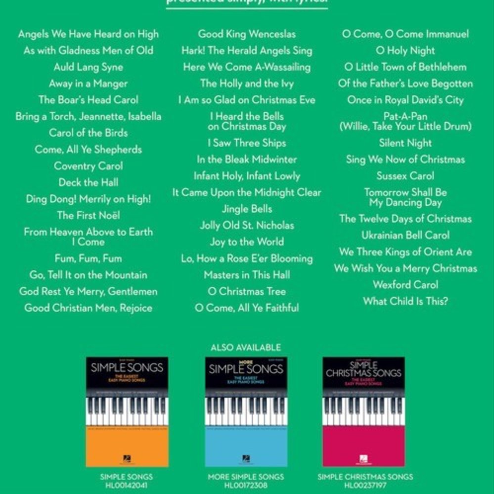 simple christmas carols the easiest easy piano songs pianoworks