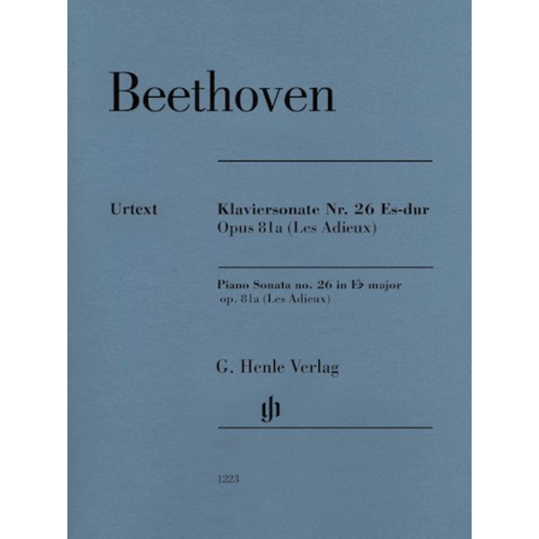 Henle Urtext Editions Beethoven Piano Sonata No. 26 E-flat Major Op. 81a (Les Adieux) – Revised Edition