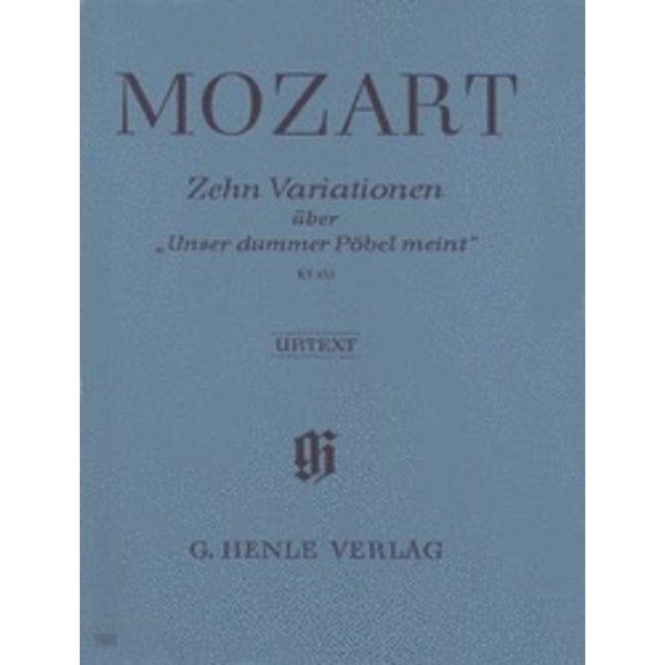 Henle Urtext Editions Mozart - 10 Variations on Unser Dummer Pöbel Meint K455