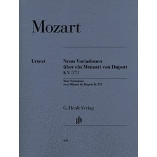 Henle Urtext Editions Mozart - 9 Variations on a Minuet by Duport K573