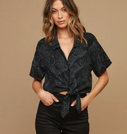 RVCA GRIDLOCK PRINTED BUTTON TOP