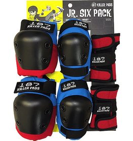 187 187 6-PACK JUNIOR PAD SET RED BLUE AND BLACK