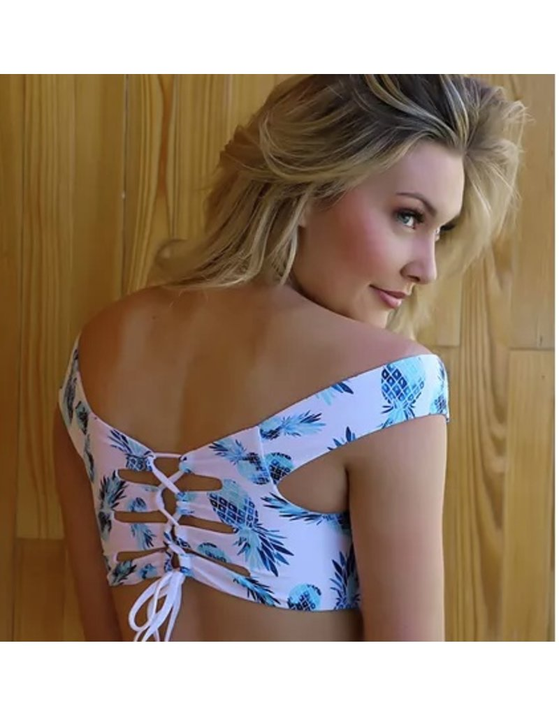 AZURE SWIMWEAR JASSMINE TOP, PINEAPPLE BLUE/WHITE