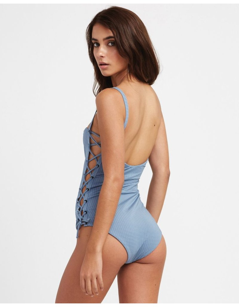 RVCA BEAU GRID LACE-UP ONE PIECE SWIMSUIT