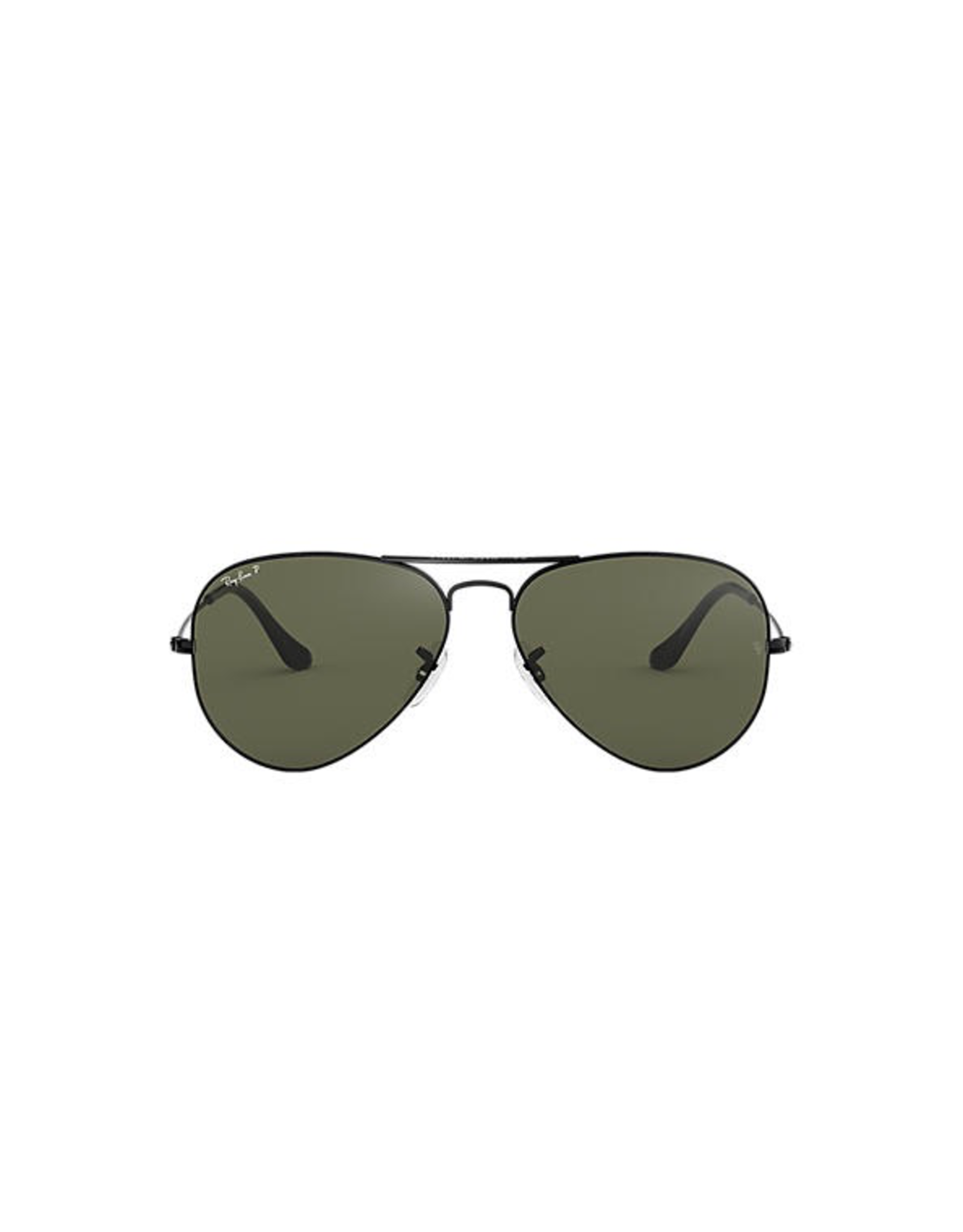 RAYBAN AVIATOR CLASSIC - METAL BLACK WITH CRYSTAL GREEN POLARIZED LENS