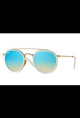 RAYBAN ROUND DOUBLE BRIDGE - GOLD W/ GRADIENT BROWN MIRROR BLUE