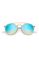 RAYBAN ROUND DOUBLE BRIDGE - GOLD W/ GRADIENT BROWN MIRROR BLUE