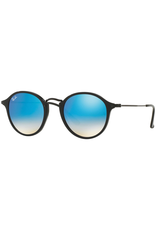 RAYBAN ROUND SHINY BLACK WITH MIRROR GRADIANT BLUE