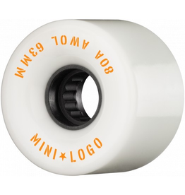 MINI LOGO MINI LOGO AWOL SKATEBOARD WHEELS 63MM 80A WHITE 4PK