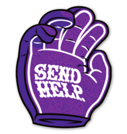 SEND HELP PURPLE HAND DECAL