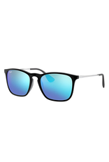 RAYBAN CHRIS SUNGLASSES (BLACK W/ BLUE MIRROR)