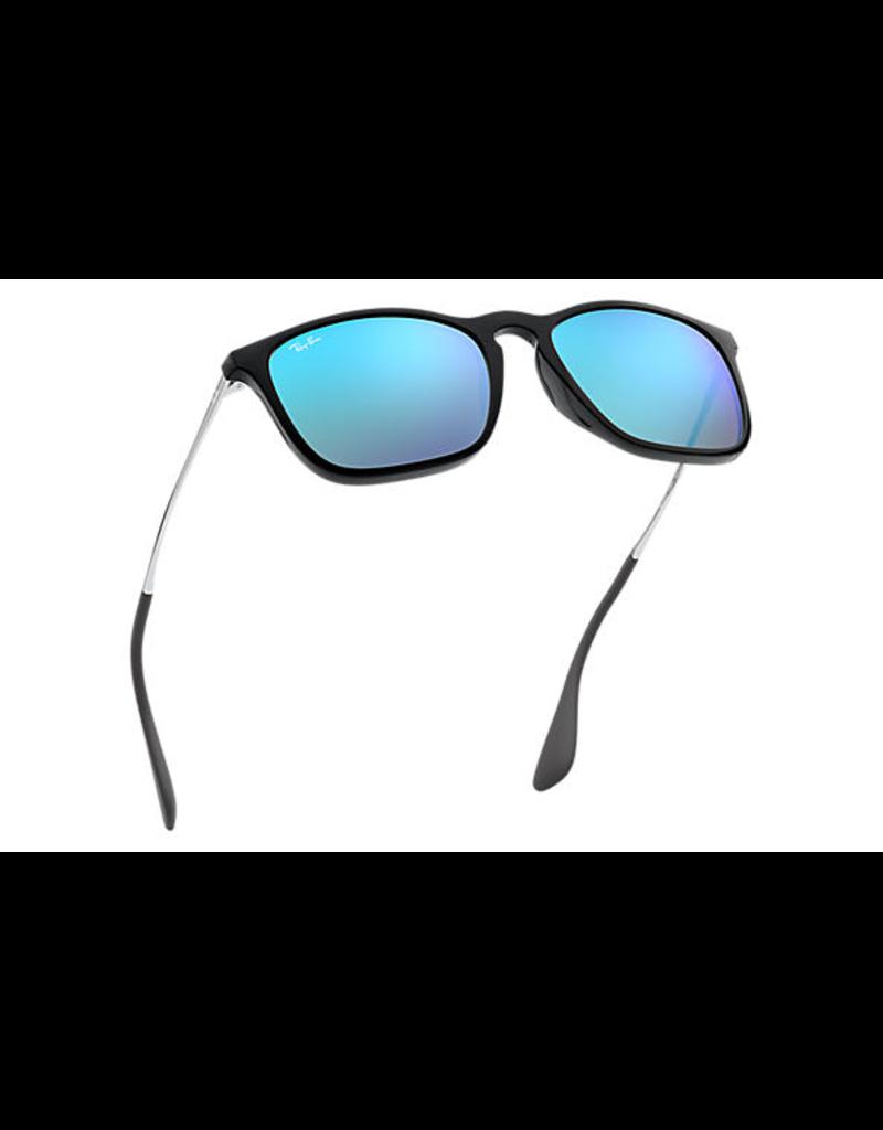 RAYBAN CHRIS SUNGLASSES (BLACK W/ BLUE MIRROR)
