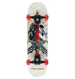 "POWELL Powell Peralta Skull & Sword Natural / White / Red Mid Complete Skateboards - 7.5"" x 31.375"""
