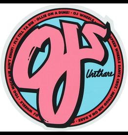 "OJ WHEELS OJ Wheels 4"" x 4"" Logo Pink Mylar Skate Sticker"