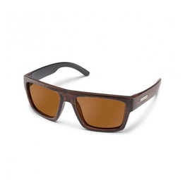 SUNCLOUD Mens Burnished Brown Frame Brown Polarized Lens Rectangular Sunglasses