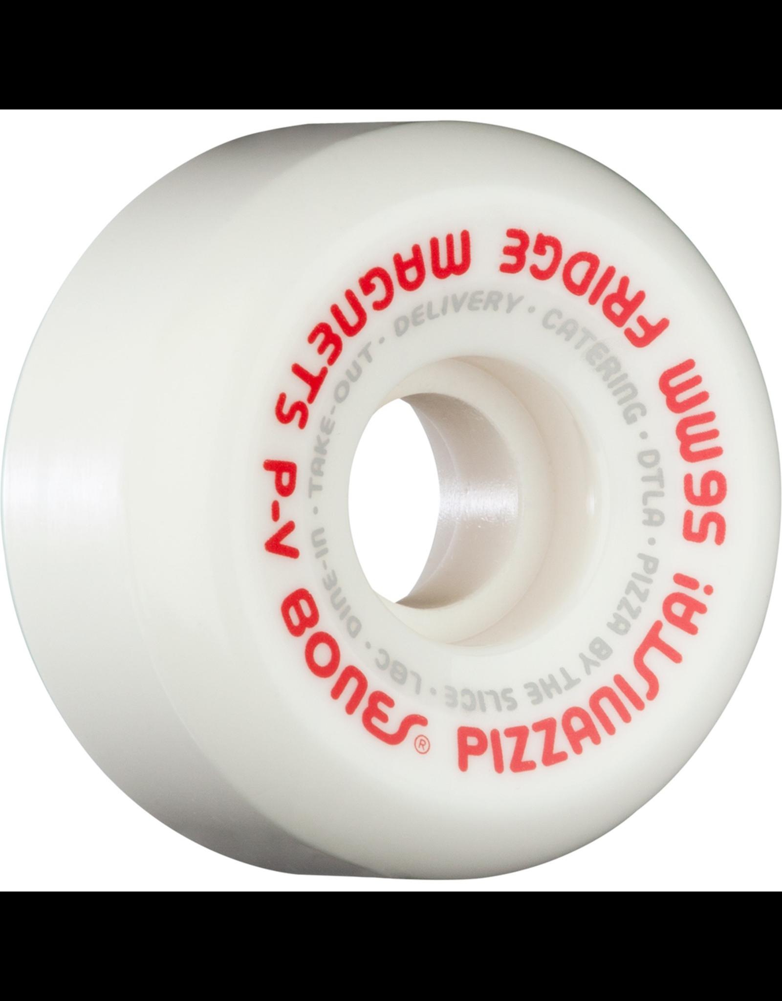 BONES Bones Wheels SPF P5 Pizzanista! Fridge Magnetsq White / Red Skateboard Wheels - 56mm 104a (Set of 4)