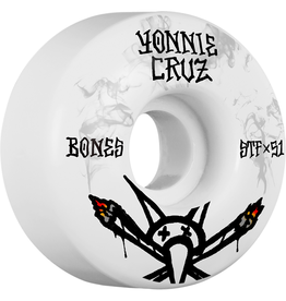 BONES Bones Wheels Yonnie Cruz Pro STF Vato Joint V2 White / Black Skateboard Wheels - 51mm 103a (Set of 4)