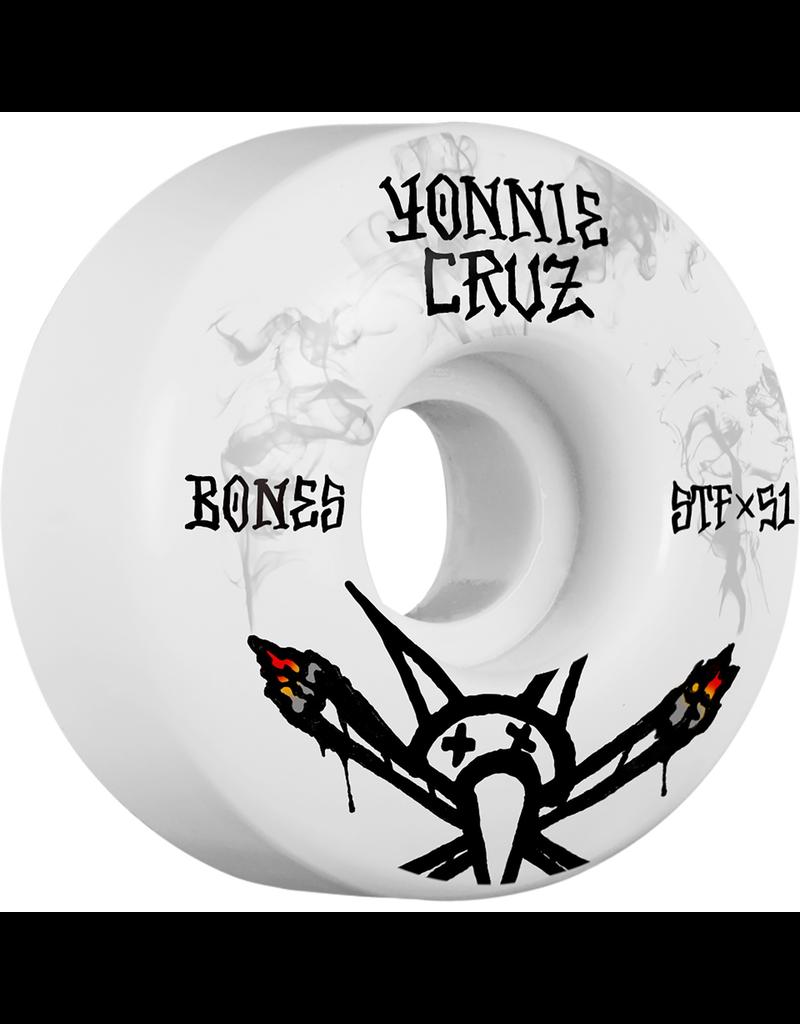 BONES Bones Wheels Yonnie Cruz Pro STF Vato Joint V2 White / Black Skateboard Wheels - 51mm 103a (Set of 4)