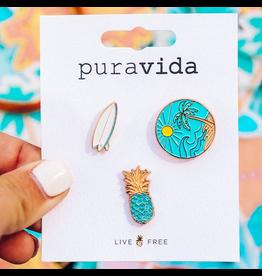 PURA VIDA Surf Check Pin Set 3 pack