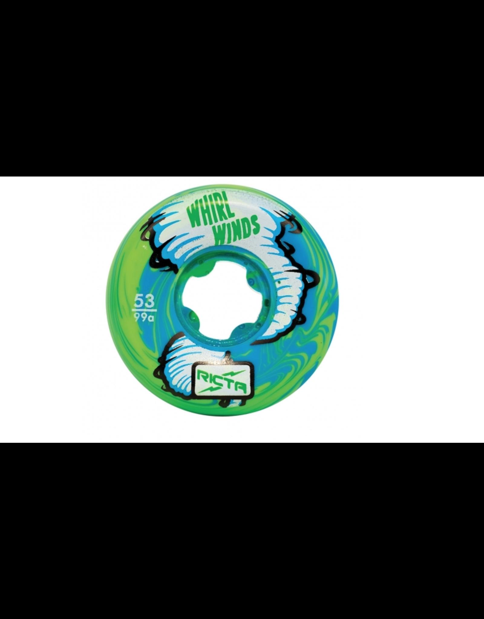 RICTA 53mm Whirlwinds Blue Green Swirl 99a Ricta Skateboard Wheels