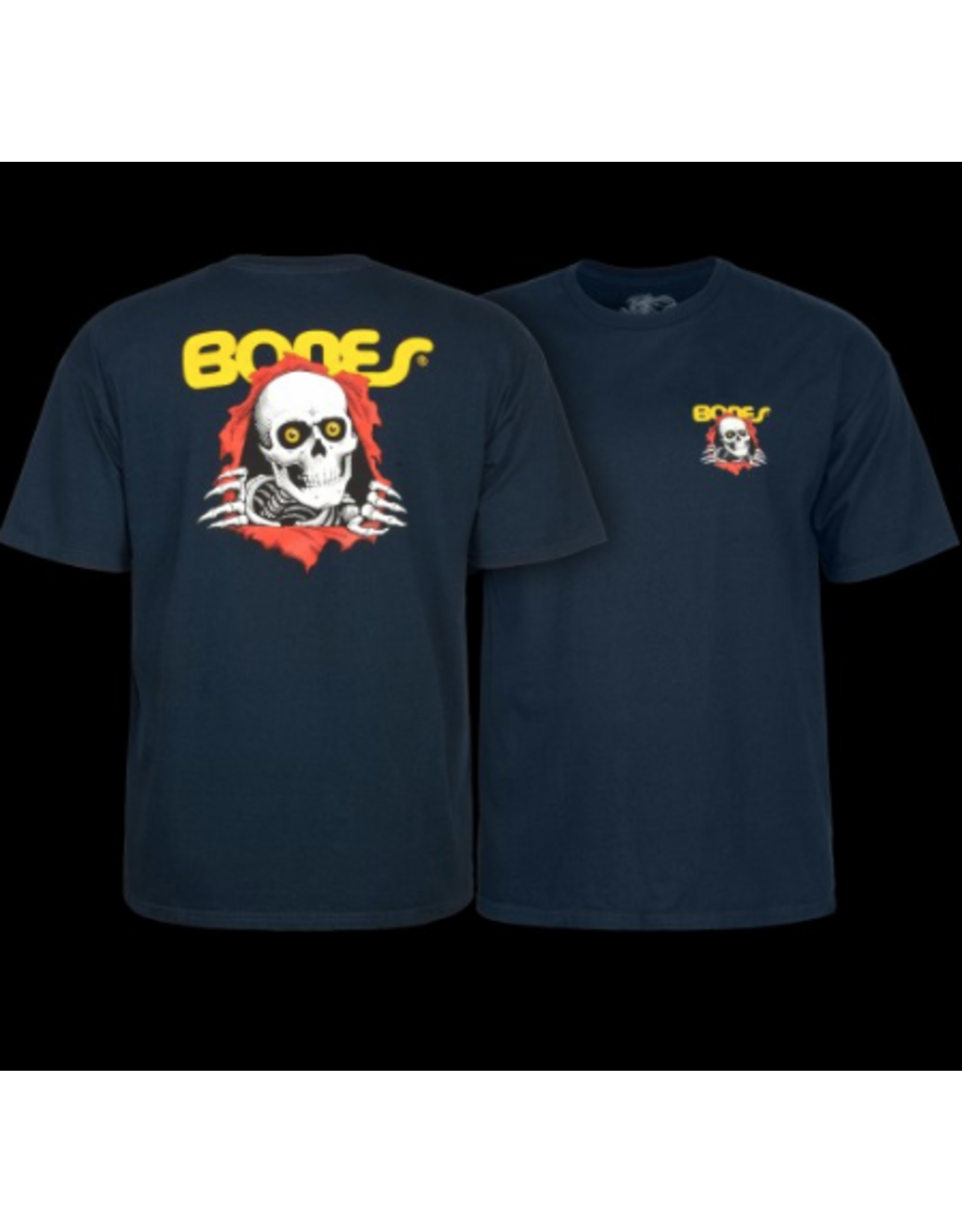 POWELL POWELL PERALTA RIPPER SUPPORT YOUR LOCAL SKATESHOP NAVY TSHIRT