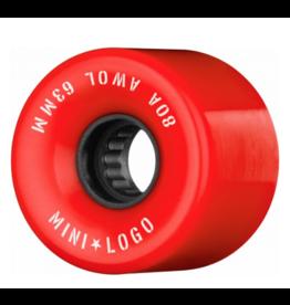 MINI LOGO MINI LOGO A.W.O.L SKATEBOARD WHEELS 63MM 80A RED (4PK)