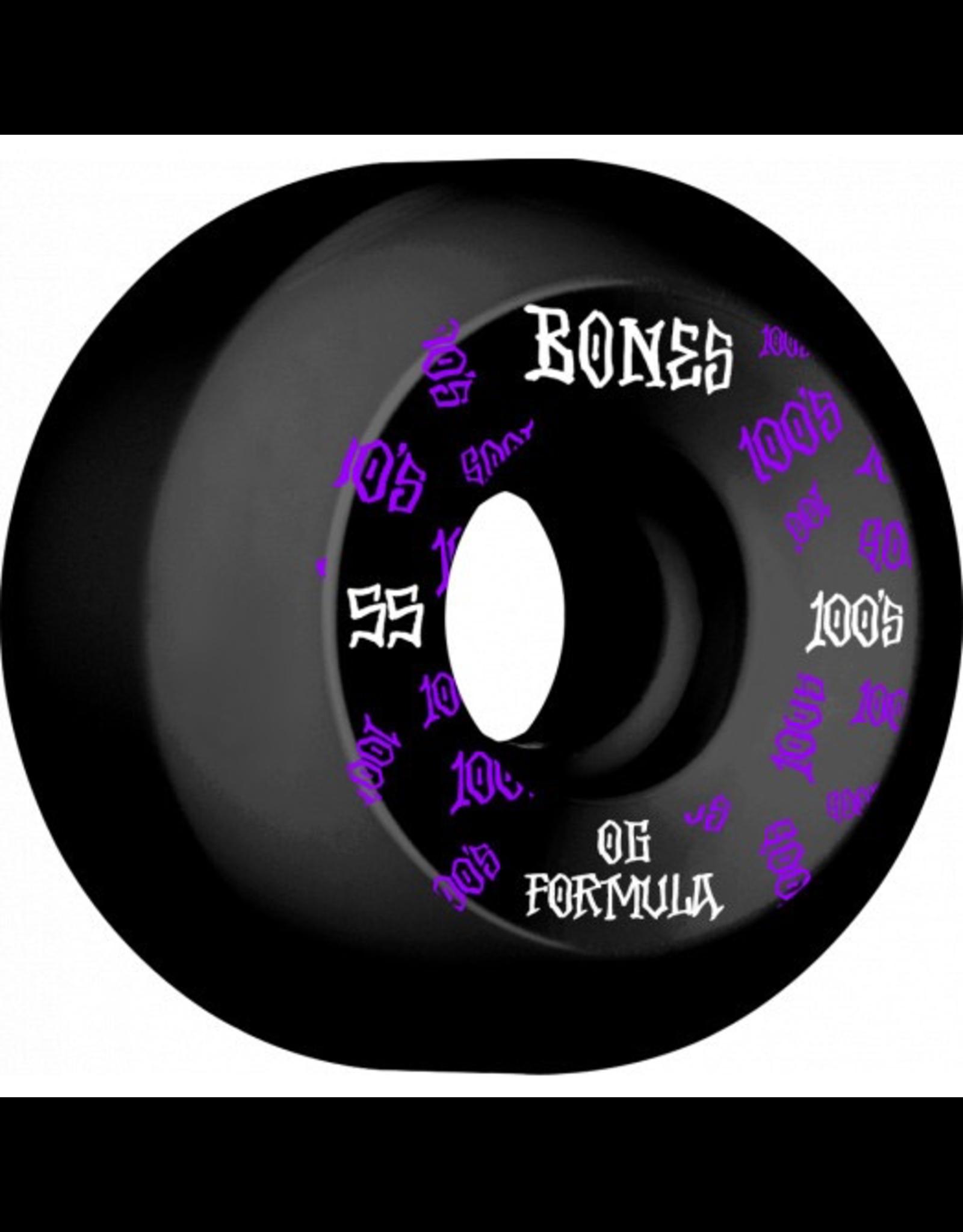 BONES BONES WHEELS OG Formula Skateboard Wheels 100 #3 55mm V5 Sidecut 4pk Black