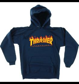 THRASHER THRASHER SKATE MAG FLAMES HOODY - NAVY