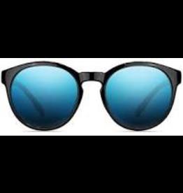 NECTAR NECTAR SUNGLASSES POLARIZED TRAVELLER GLOSSY BLACK FRAME - BLUE MIRROR LENS