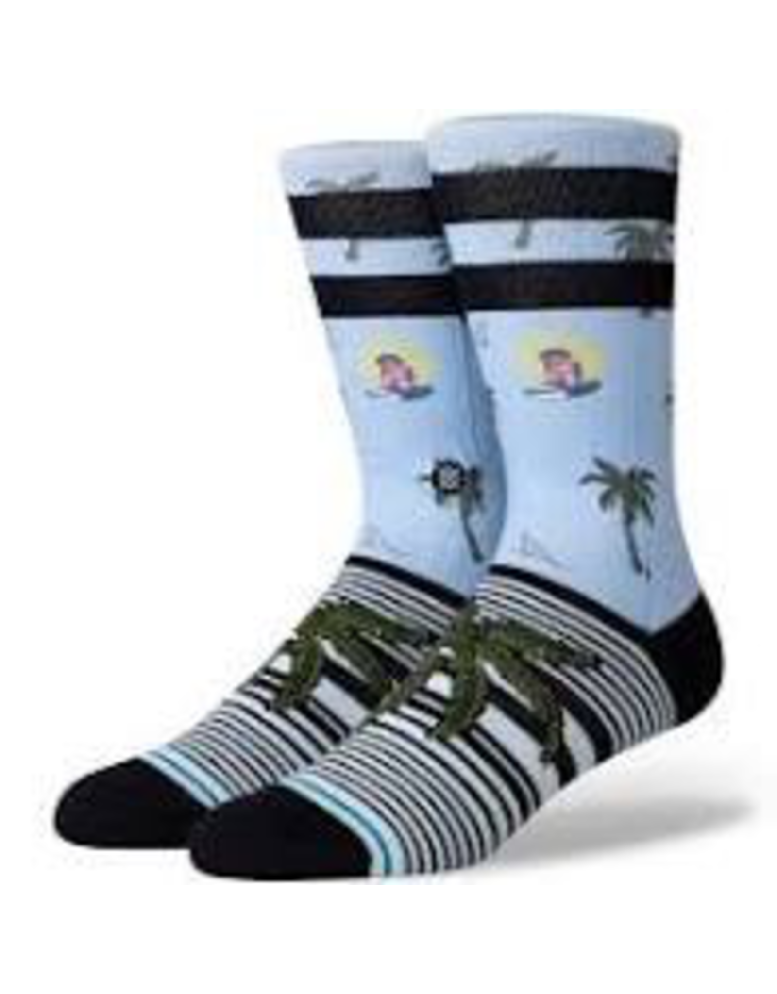 STANCE Aloha Monkey Crew Socks by Stance.<br /> Size Large fits men's shoe size 9 - 12 US.<br /> Terry loop in forefoot, heel, and toe for medium cushion.<br /> Seamless toe closure.<br /> Athletic ribbed.<br /> Signature Stance logo embroidered on the ankle.<br /> Reinforced heel and toe.<br /> Arch su