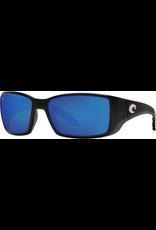 COSTA DEL MAR COSTA BLACKFIN MATTE BLACK WITH BLUE MIRROR LENSES