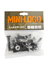 """MINI LOGO 8 Nuts and 8 Bolts per pack!<br /> High quality steel<br /> Available in 7/8"""", 1.0"""", 1.25"""" and 1.50"""" to cover all your skateboards set-ups<br /> Lifetime warranty against manufacturer defects"""
