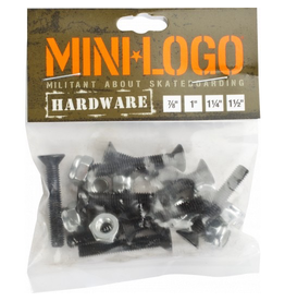 "MINI LOGO 8 Nuts and 8 Bolts per pack!<br /> High quality steel<br /> Available in 7/8"", 1.0"", 1.25"" and 1.50"" to cover all your skateboards set-ups<br /> Lifetime warranty against manufacturer defects"
