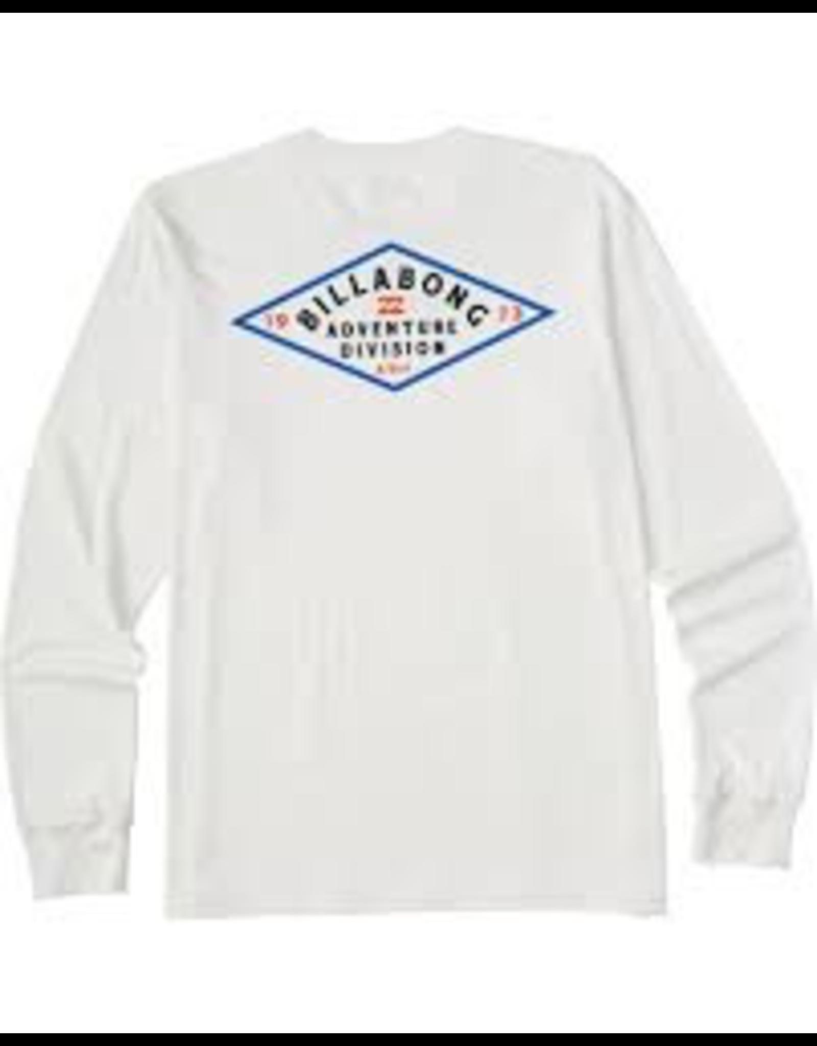 BILLABONG Mens' long sleeve t-shirt.<br /> <br /> Billabong Adventure Division.<br /> Crew neck.<br /> Logo artwork screen printed at chest and back.<br /> Heat seal neck label.<br /> Left side seam flag label.<br /> Premium combed ringspun jersey.