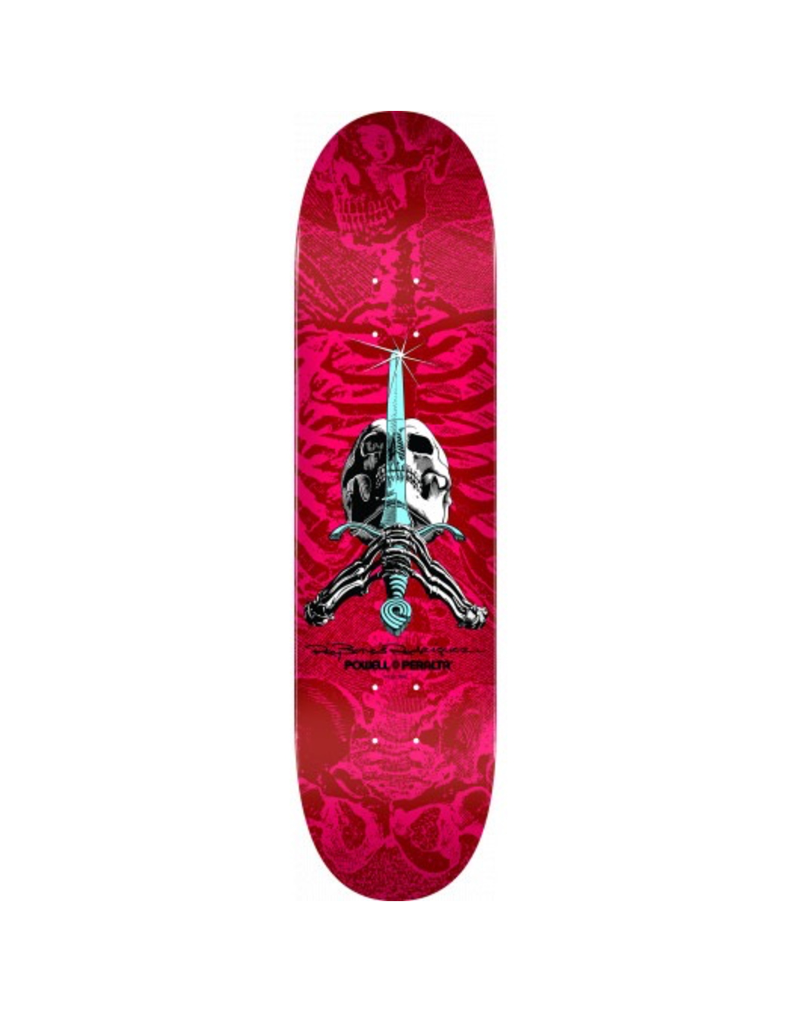 POWELL Powell Peralta Skull and Sword Skateboard Deck Red/Pink - Shape 249 - 8.5 x 32.08