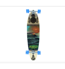 "PUNKED Punked Skateboards Kicktail Wave Scene Longboard Complete Skateboard - 10"" x 40"""