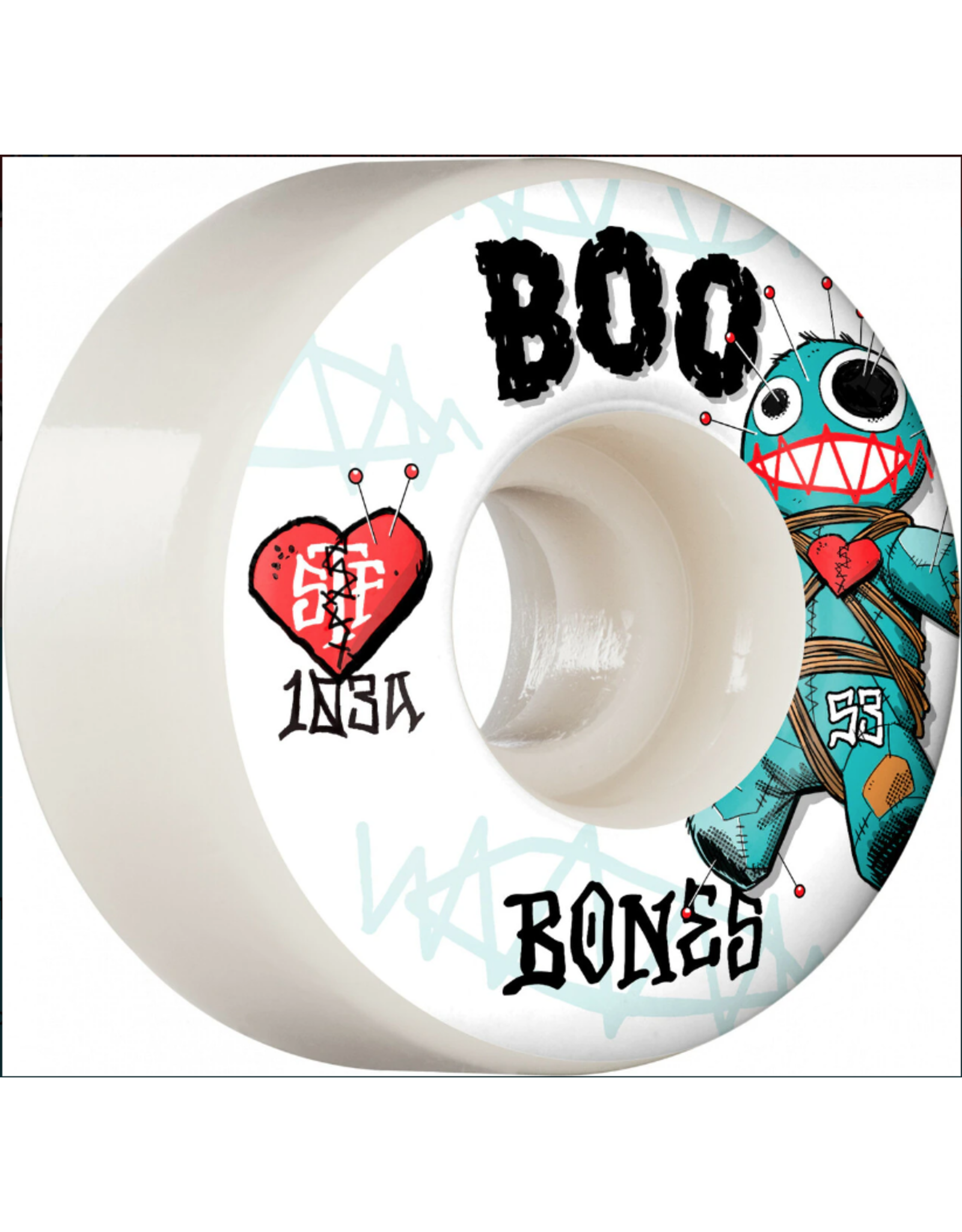 BONES BONES STF 53mm V4 Wide 103A Boo Voodoo Skateboard Wheels 4pk White<br /> Bones Wheels