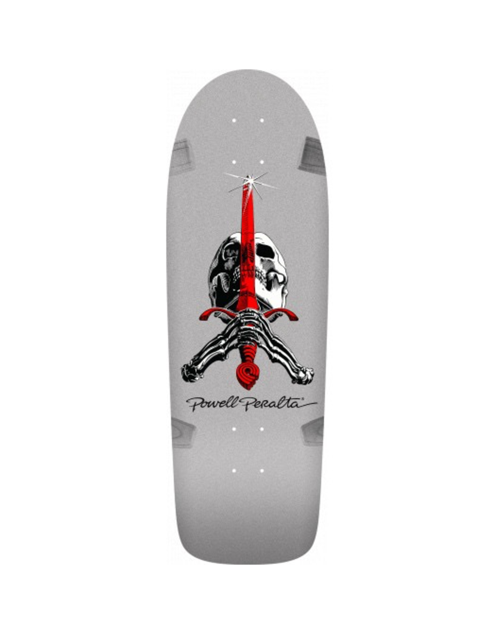 POWELL Powell Peralta Ray Rodriguez OG Skull and Sword Skateboard Deck Silver - 10 x 30