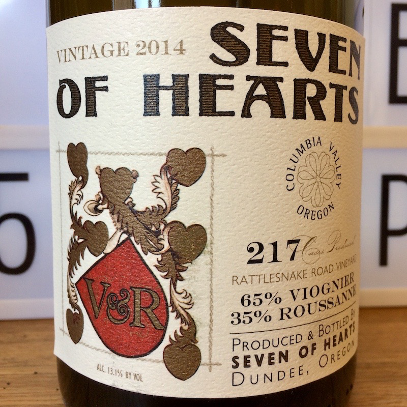 "2014 Seven of Hearts ""Chatte d'Avignon"" Viognier Roussanne Columbia Valley"