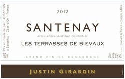"2017 Justin Girardin Santenay Blanc ""Les Terrasses de Bievaux"""