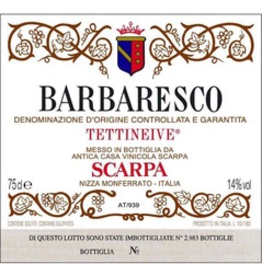 "Italy 1988 Scarpa Barbaresco ""Tettineive"""
